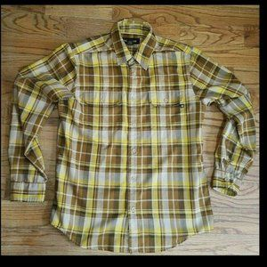 Marmot Checkered Plaid Brown Long Sleeved Button M